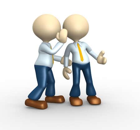 3d les gens - homme, personne chuchotant à l'oreille à une autre personne.