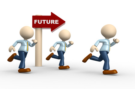 3d people - man, person and directional sign with word future. Future concept  photo