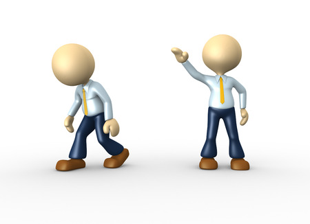 3d people - man, person kicked out. Go ahead Stock Photo - 24906233