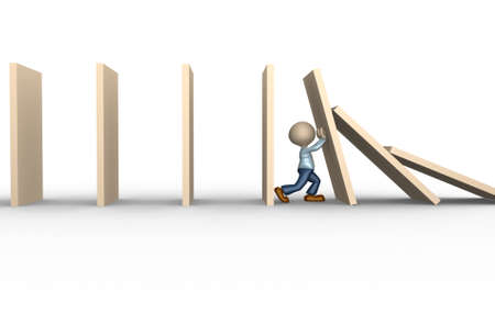 3d people - man, person stopping domino effect  photo