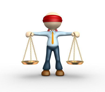 weigher: 3d people - man, person blindfolded with a justice scale  Stock Photo