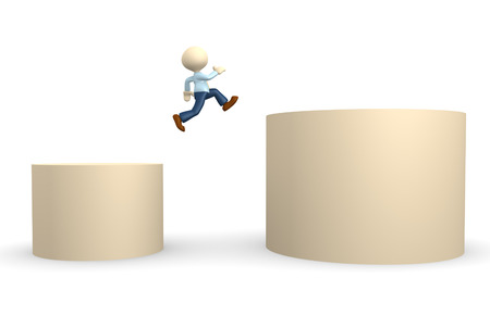 obstacle: 3d people - man, person jumping over obstacle