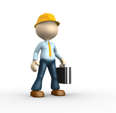 3d people - man, person - suggesting an engineer. photo