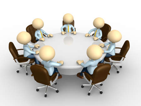 3d people - man, person sitting at a round table and having business meeting photo