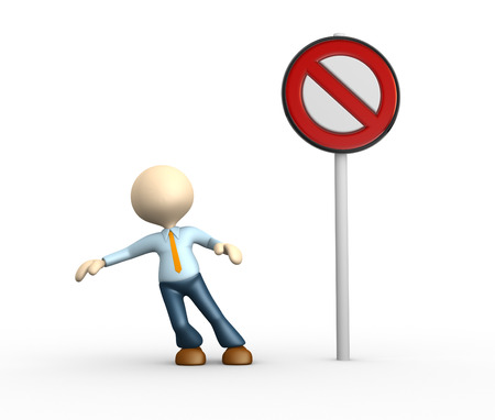 3d people - man, person and a  interdiction sign  photo