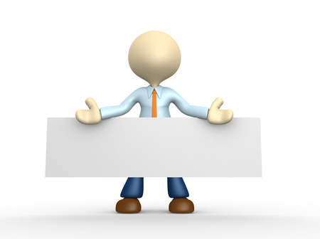 on demand: 3d people - man, person is holding a blank board.  Stock Photo