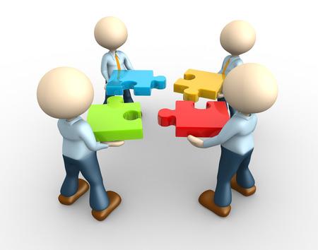 3d les gens - homme, personne - l'équipe avec des puzzles colorés