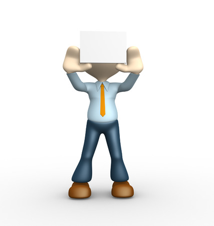 3d people - man, person holding a blank board  photo
