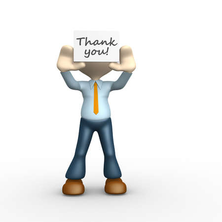 you figure: 3d people - man, person holding thank you board