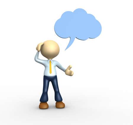Les gens 3d - homme, personne de penser avec la bulle de pensée au-dessus de sa tête au-dessus Banque d'images