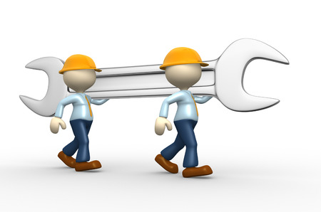3d people - men, person with a wrench  Businessman and builder  Teamwork  Stock Photo - 25021730