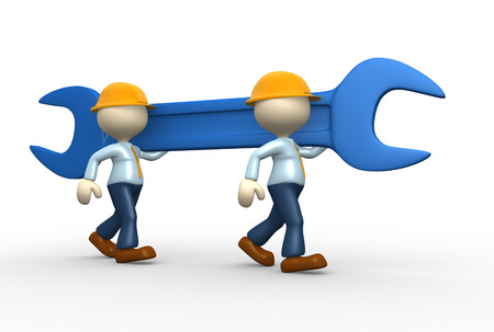 3d people - men, person with a wrench  Businessman and builder  Teamwork Stock Photo - 25022032