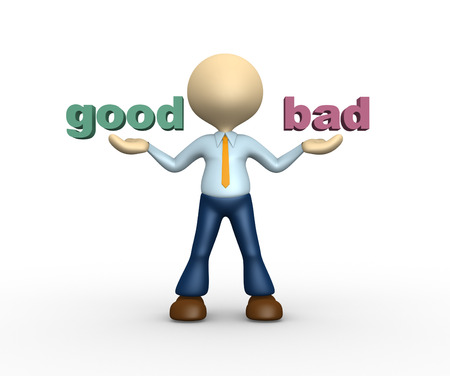3d people - man, person presents good and bad words  photo