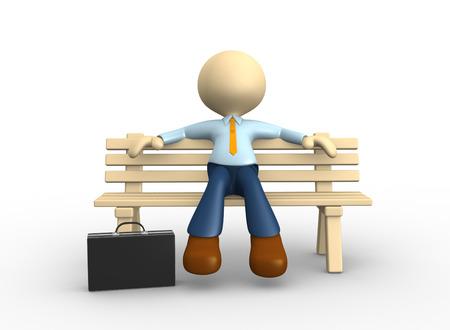 person sitzend: 3D-Menschen - ein Mann, Person auf der Bank sitzen