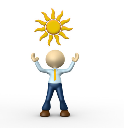 3d people - man, person with sun overhead  photo