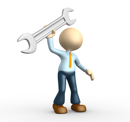 3d people - man, person with a wrench. Businessman  photo