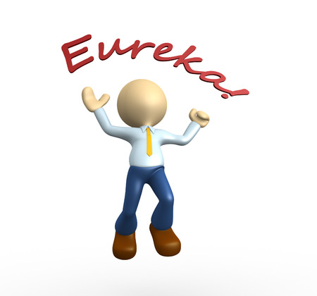 eureka: 3d people - man, person happy jumping for the success. Eureka!