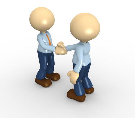 agree: 3d people - men, person shaking hands. Businessmen