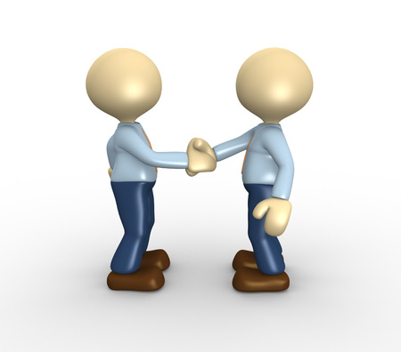 3d people - men, person shaking hands. Deal concept photo