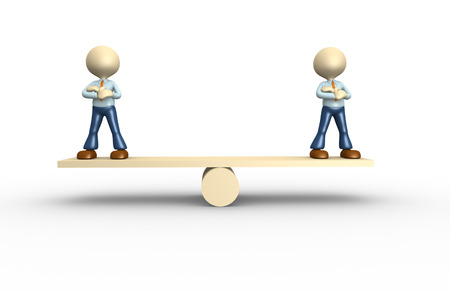 3d people - men, person on a balance. Businessman Stock Photo - 25122429