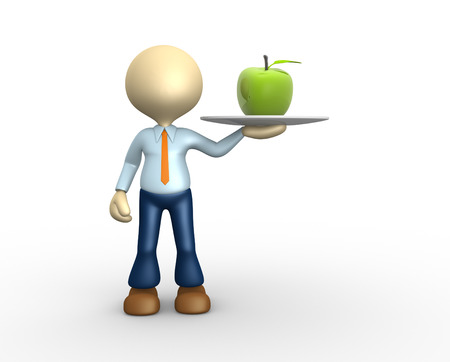 3d people - man, person with a green apple Stock Photo