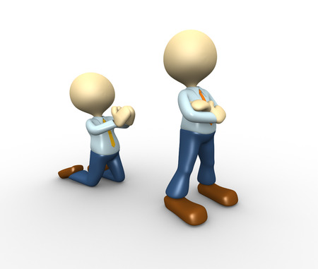 grudging: 3d people - men, person angry. Reconciliation, please