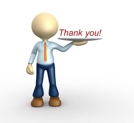 3d people - man, person showing word Thank you! on tray. photo