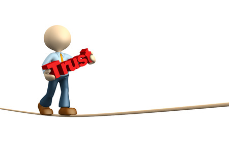 trust people: 3d people - man, person doing balance with word trust