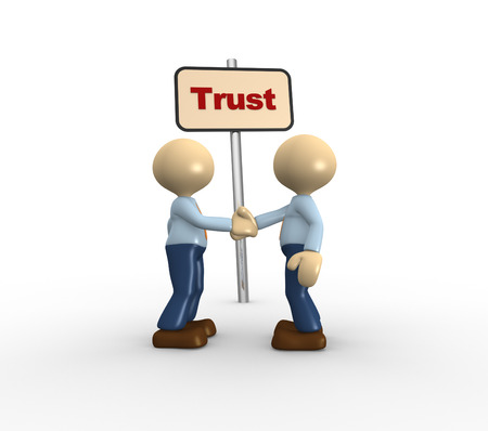 trust people: 3d people - men, person and a banner with word trust. Handshake. Stock Photo