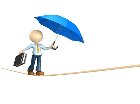 3d people - man, person doing balance with a briefcase and a umbrella.  photo