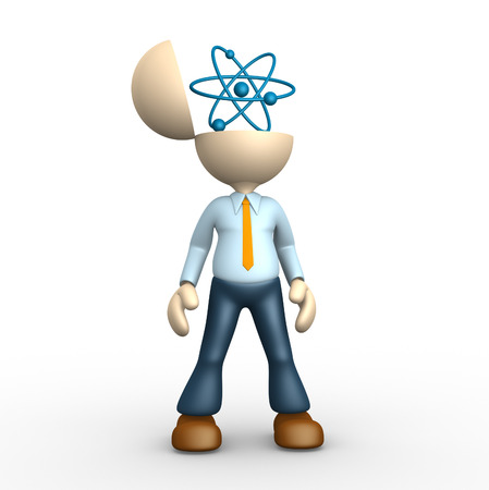 3d people - man, person with a conceptual structure of atom  Stock Photo - 25264840