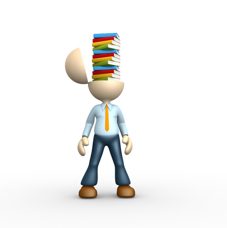 3d people - man, person and stack of books photo