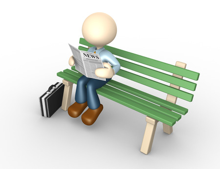3d people - man, person reading the newspaper on the bench photo
