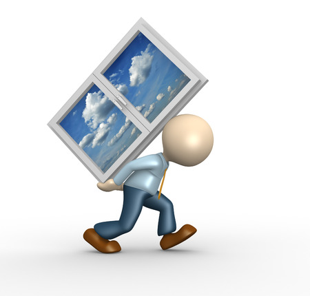 3d people - man, person carrying a window photo