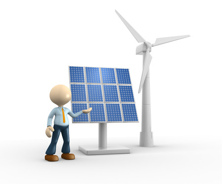 3d people - man, person with solar panels and wind turbines ( wind-power ). Engineer  photo