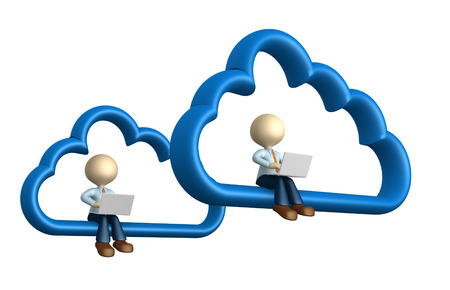3d people - man, person with laptop sitting on cloud computing symbol photo