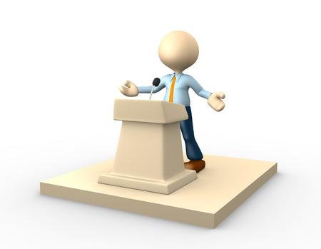 debate win: 3d people - man, person speaking from a tribune.