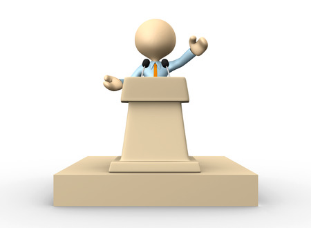 lectern: 3d people - man, person speaking from a tribune.