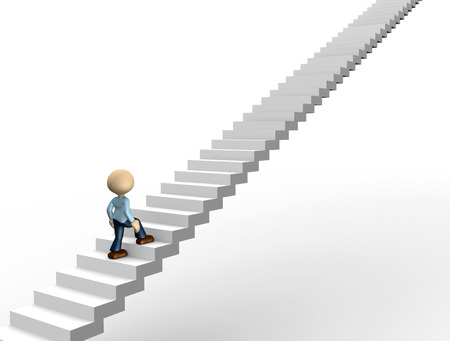 3d people - man, person running on stairs. To success Stock Photo - 25268754
