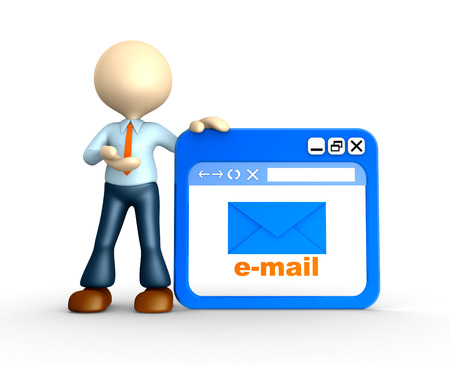 3d people - man, person with browser window. E-mail sign Stock Photo - 25208919