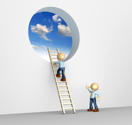 3d people - man, person climbing the ladder to sky photo