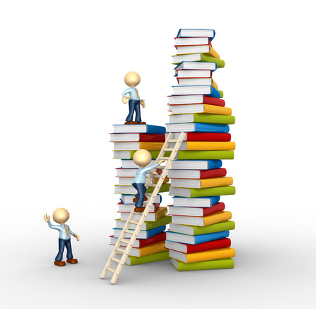 step ladder: 3d people - man, person and stack of books. Aspiration to knowledge!