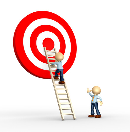 3d people - man, person climbing ladder to the target  Stock Photo - 25324873