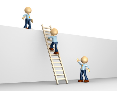 climbing ladder: 3d people - man, person climbing the ladder to success Stock Photo