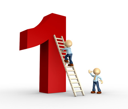 3d person - man, person is climbing a ladder that leads at the top of the number one photo