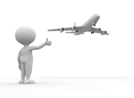 hitchhiking: 3d people - man, person and a airplane. Concept of travel. Hitchhiking Stock Photo