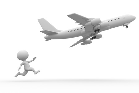 planar: 3d people - man, person with a airplane  Stock Photo