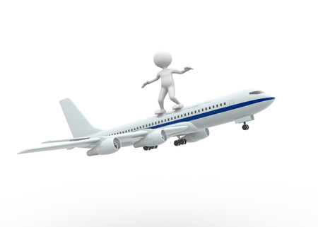 person standing: 3d people - man, person standing over airplane flying