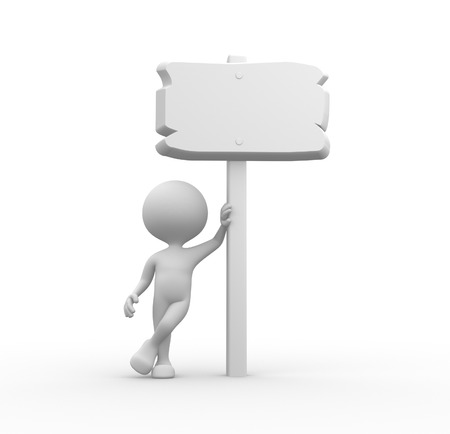 3d people - man, person with blank board photo