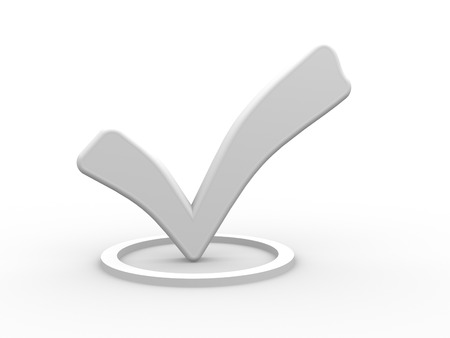 the concept is correct: 3d white check mark. 3d render Stock Photo